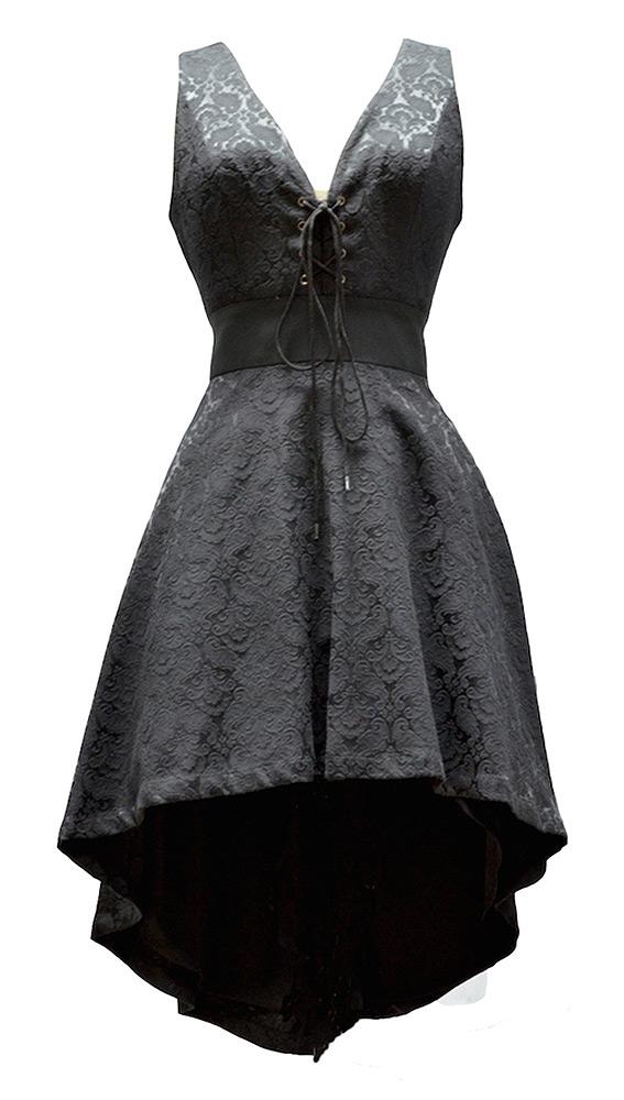 Noire Laçage Floral Motif Vintage Court Robe Devant Élégante Pentagramme Avec dqAwWPWnZx