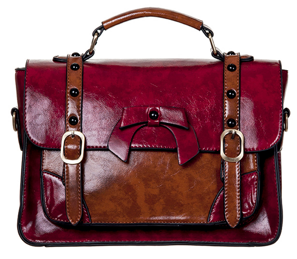 17f2cae9fd9f Steampunk Banned brown and red imitation leather handbag satchel ...