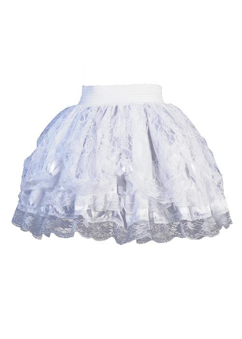 prix le plus bas f1001 9079b Jupe courte blanche avec dentelles et noeuds en ruban Référence : EDENB022