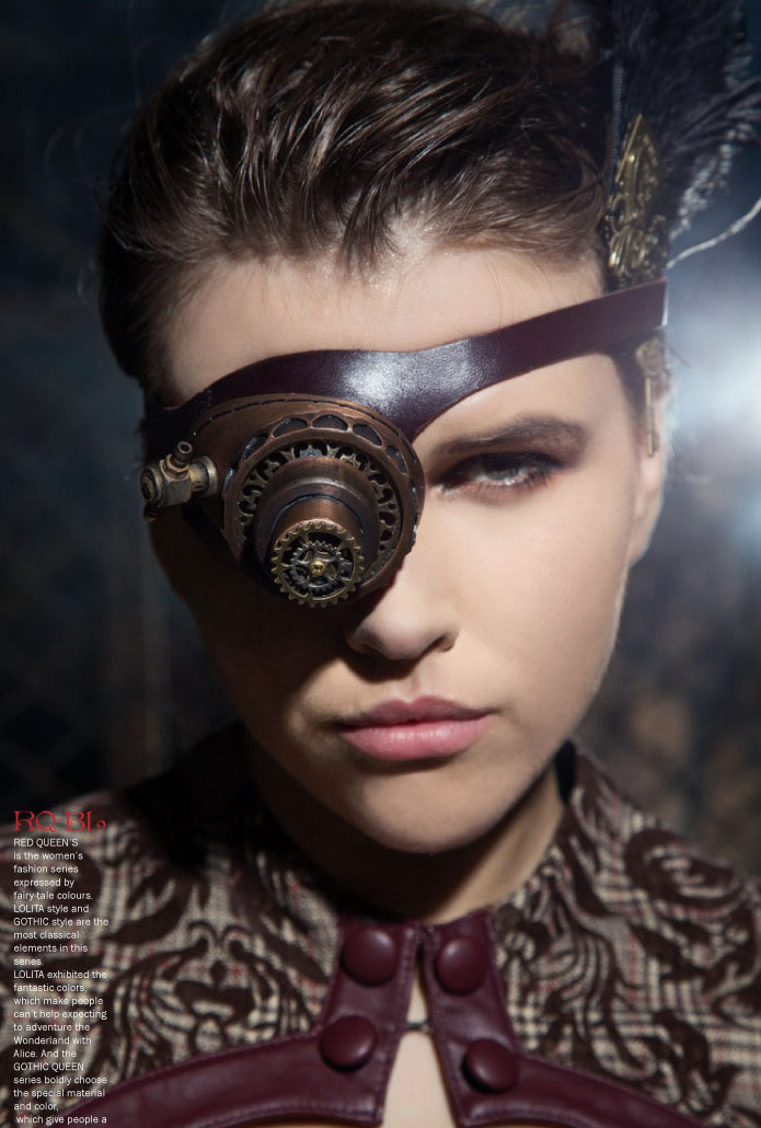 steampunk monocle goggles brown leather 2 colored led