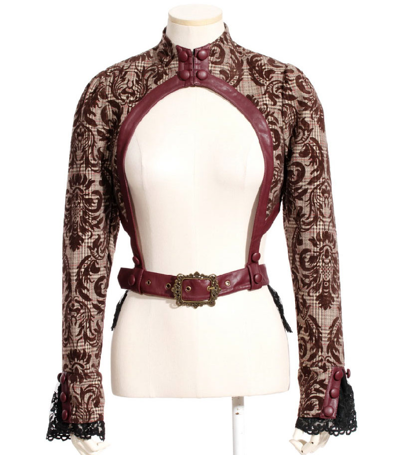 veste bol u00e9ro marron motif vintage avec dentelle et sangles