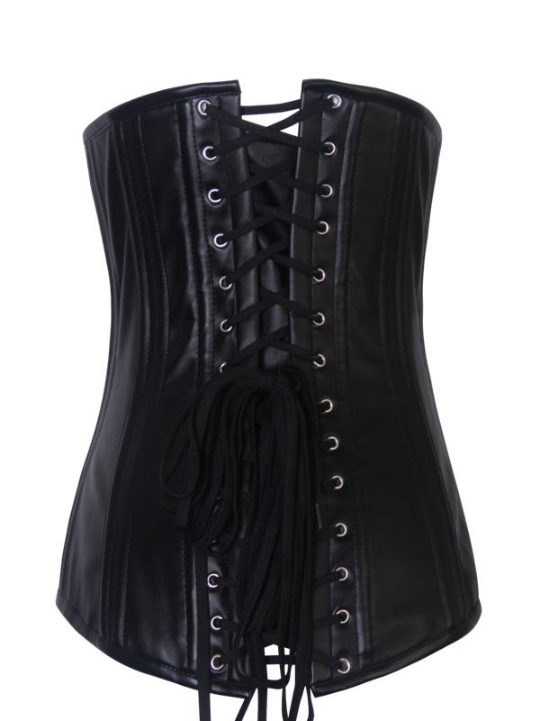 serre taille corset noir simple imitation cuir gothique fetish japan attitude vetcor692. Black Bedroom Furniture Sets. Home Design Ideas