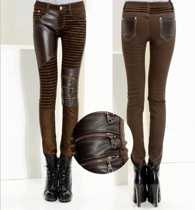 Pantalon marron ray avec patchworks en cuir synth tique steampunk japan attitude vetpan119 - Pantalon marron homme avec quoi ...