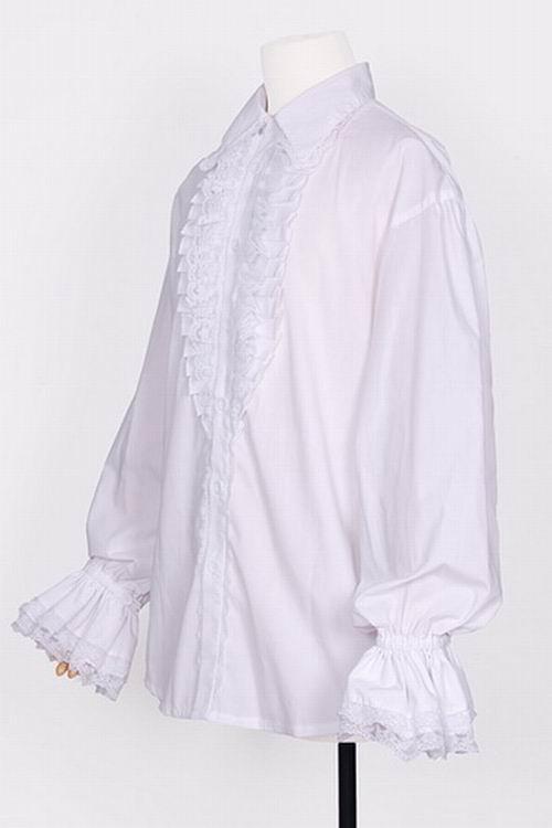 Promotion de ventes arrive prix modéré Chemise blanche pirate avec manches bouffantes et jabot Pentagramme  Référence : VETCHE131