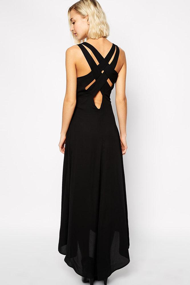 robe noire longue croisée dos