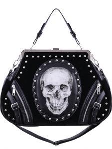 6d58bb31d Skull cameo black velvet bag, metal frame, anatomical handbag, rock gothic