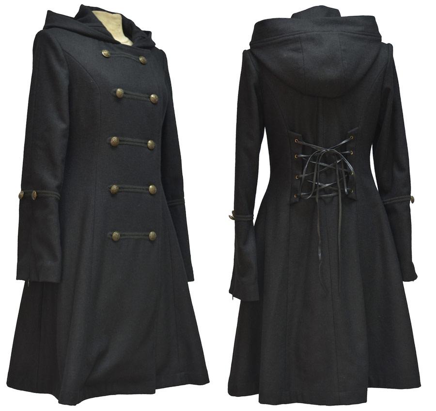 Manteau noir à capuche avec laçage au dos élégant aristocrate