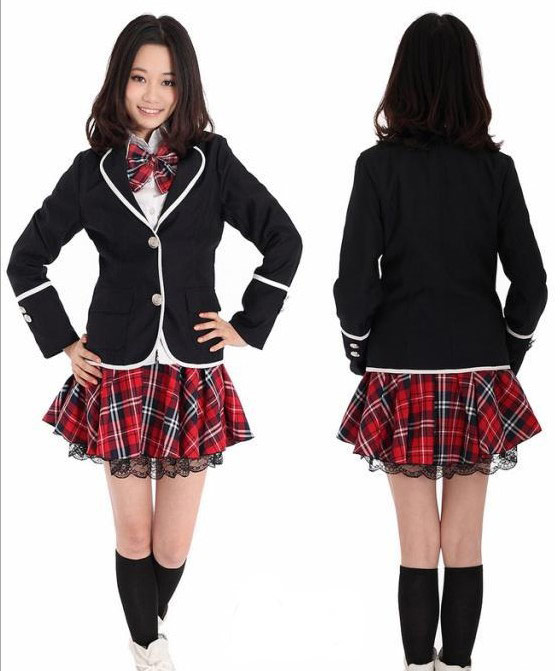 Japanese Schoolgirl Red Outfit And Black Jacket Gt Japan