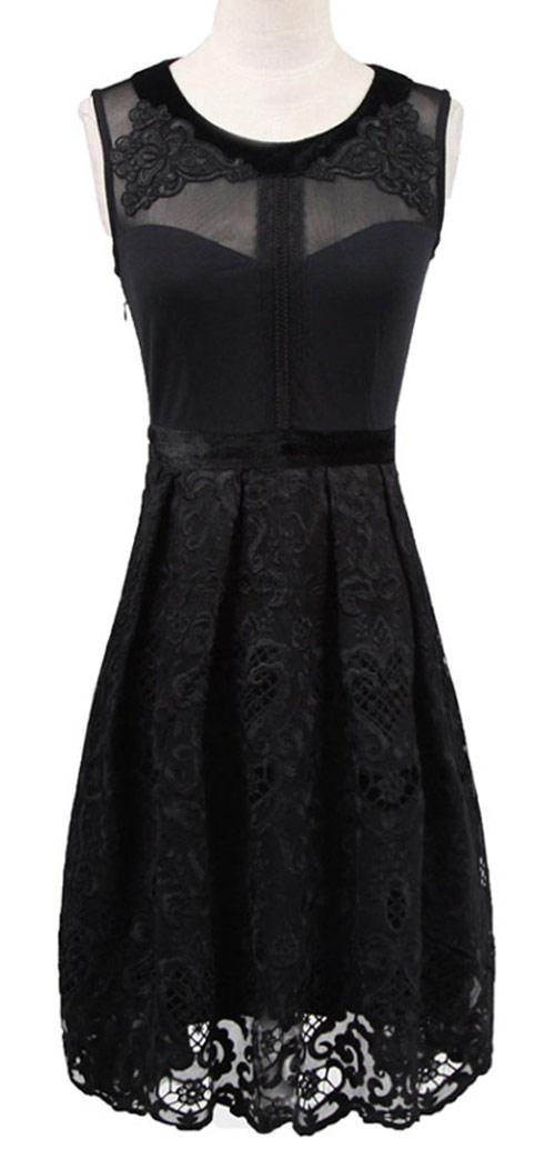 3a5d9a42392ad Robe courte noire avec dentelles et voilages Punk Rave Q-227. Cliquer pour  agrandir