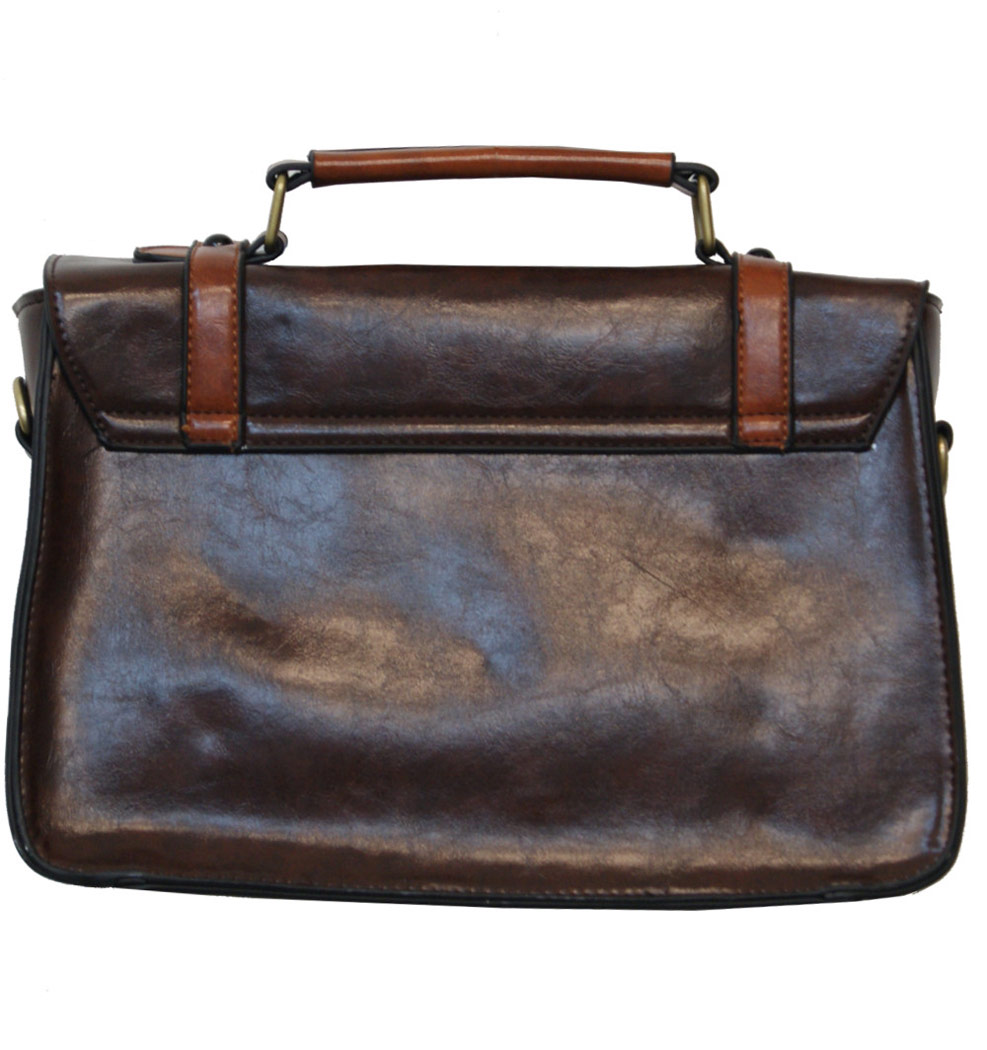 78a43bfa2c99 Sac à main cartable marron et cafe imitation cuir steampunk Banned ...