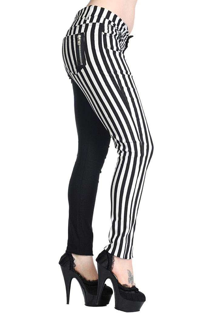 2e64bfdd327b6 Pantalon noir à rayures blanche rock gothique Banned Cliquer pour agrandir