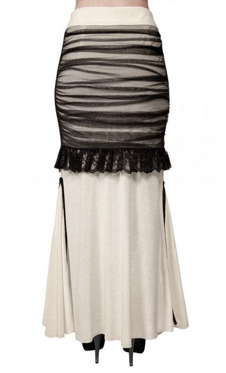 jupe longue blanche avec voilage marron steampunk japan attitude vglm0095. Black Bedroom Furniture Sets. Home Design Ideas