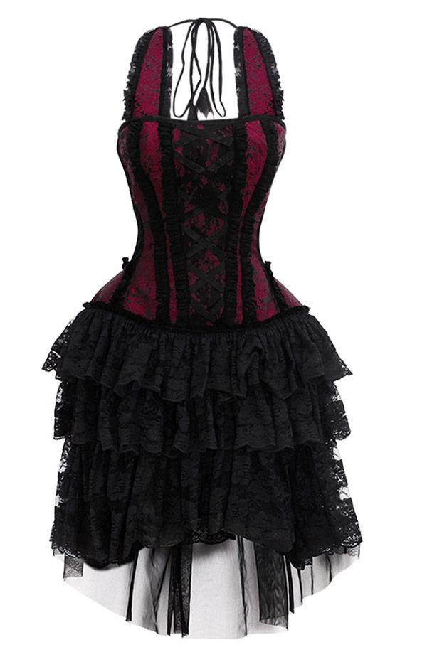 Robe bustier bordeaux et noire avec dentelles élégant gothique ... fd3d4fce7