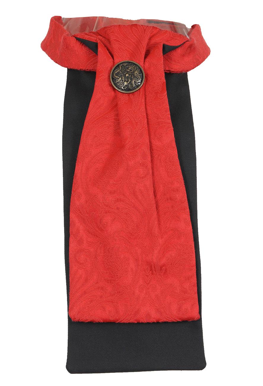 jabot cravate rouge et noir avec bouton fleur l gant gothique steampunk japan attitude. Black Bedroom Furniture Sets. Home Design Ideas