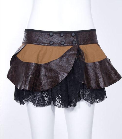 jupe marron imitation cuir avec dentelle noire steampunk rqbl japan attitude rqbl0230. Black Bedroom Furniture Sets. Home Design Ideas
