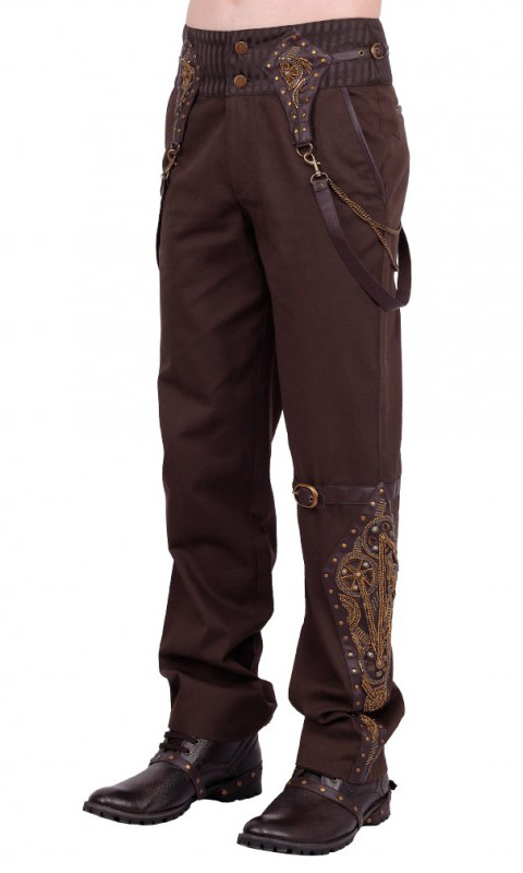 pantalon steampunk marron avec sangles et motifs rouages dor es japan attitude vglm0139. Black Bedroom Furniture Sets. Home Design Ideas