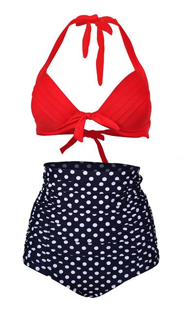 maillot de bain noir point et haut rouge pin up deux pi ces bikini japan attitude vetbod058. Black Bedroom Furniture Sets. Home Design Ideas