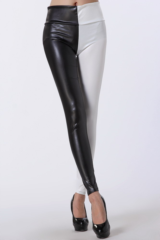 1e4a6756dfbe Half black and half white fack leather Leggings   JAPAN ATTITUDE ...