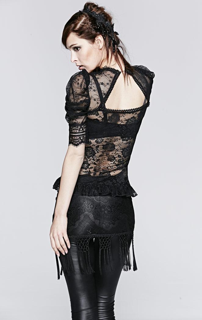Top noir effet chemise en dentelle transparente bb29efd15ea