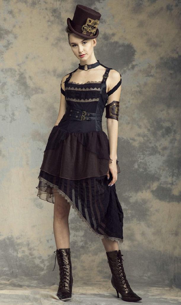 RéférenceRqbl0247 Avec Bretelles Robe Steampunk Noir En Asymétrique Marron Sangles Et Cou D29bHIeYWE