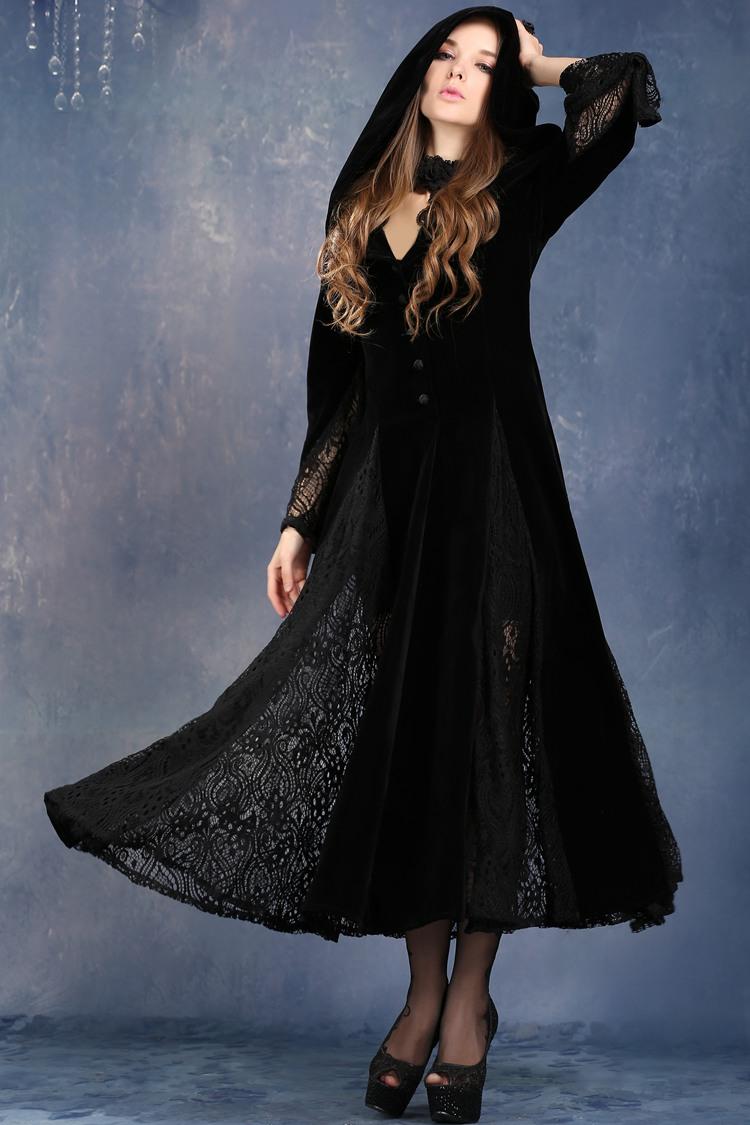 3951a614f2e Robe noire à capuche et manches longues velours dentelle vampire gothique