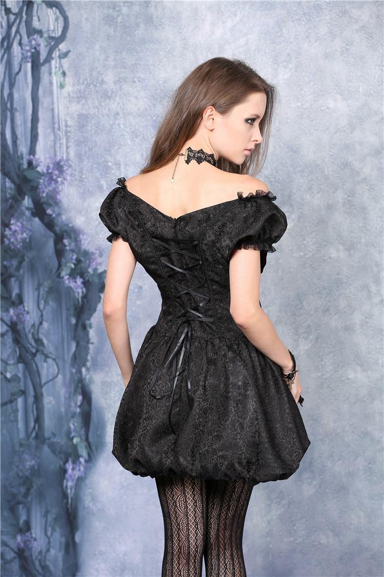 robe courte noire satin e velours rouge gothique vampire. Black Bedroom Furniture Sets. Home Design Ideas