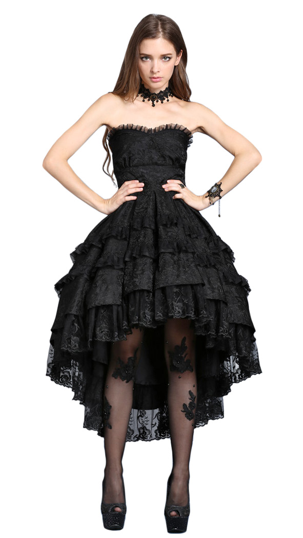 Strapless Dress Black Mi Long Bloomers Dentelle Floral Lolita Goth