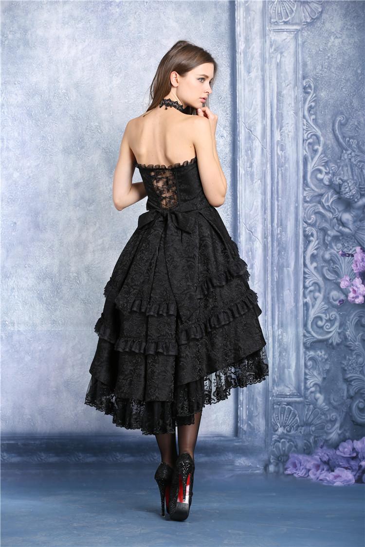 a87a9aba84c Robe bustier noire mi longue bouffante dentelle fleurie lolita gothique  vampire