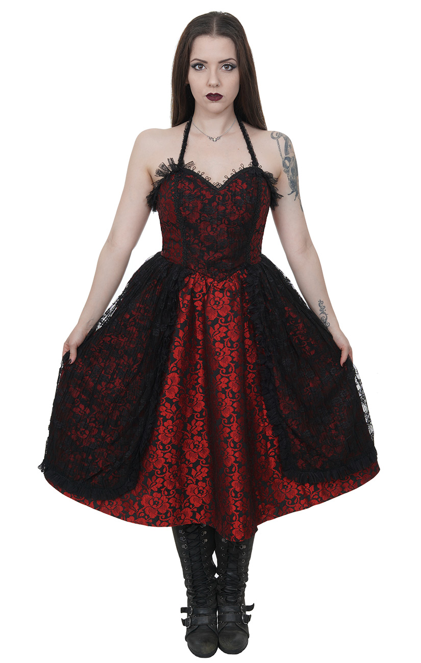 4e7e95314f981 Robe rouge noire brillantes dos nu dentelle lolita gothique vampire  victorien Size Chart. Photos de clients