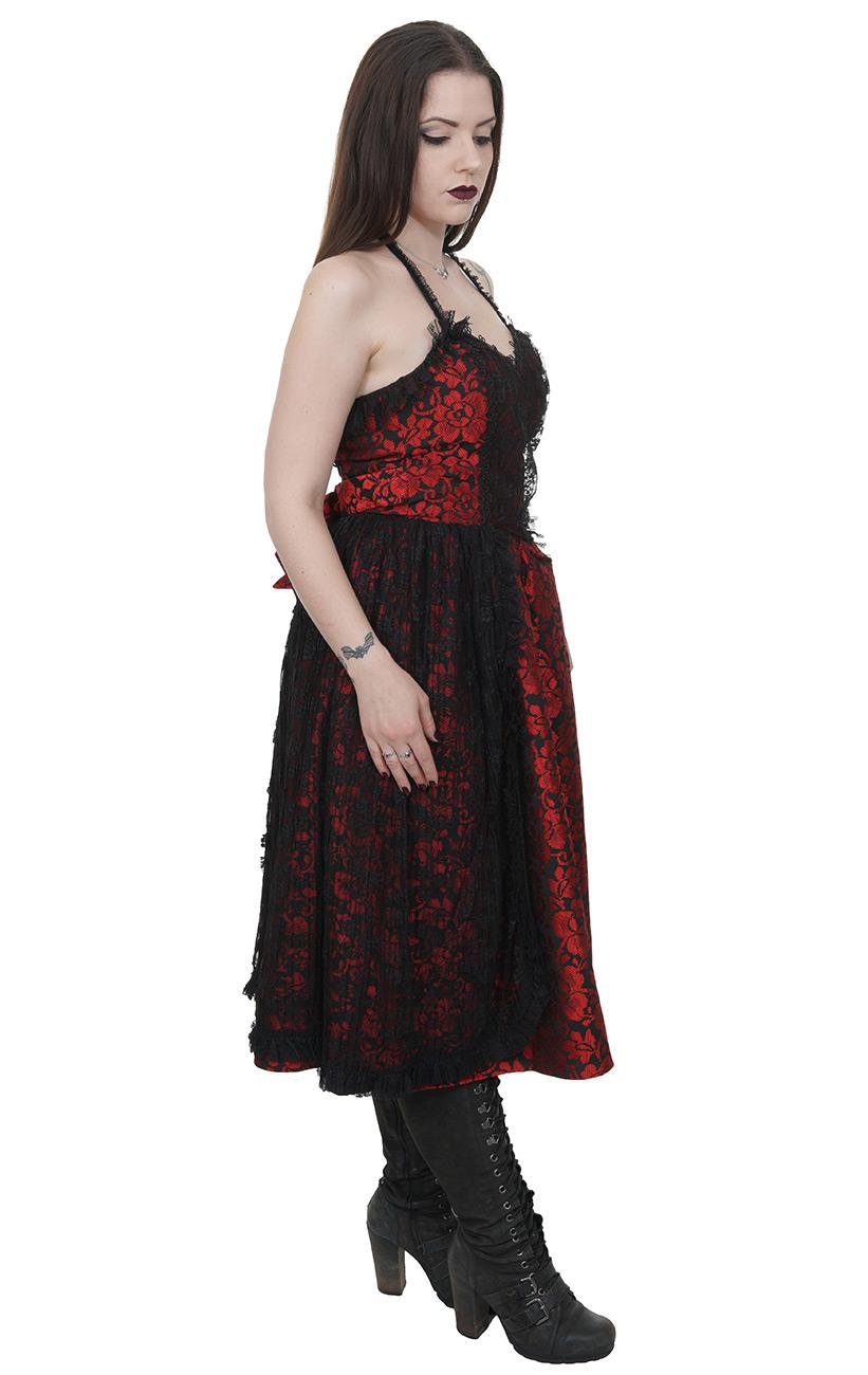 904cbe5252b Robe rouge noire brillantes dos nu dentelle lolita gothique vampire  victorien