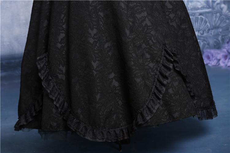 Longue jupe noire dentelle froufrou gothique vampire victorien aristocrate Référence : DARKIL025
