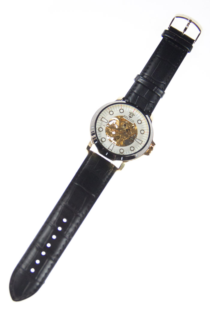montre automatique engrenages dor s cadran noir et or bracelet noir steampunk 166 japan. Black Bedroom Furniture Sets. Home Design Ideas