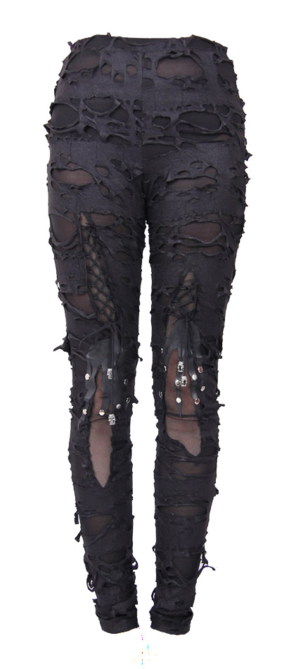 Pantalon moulant trous squelette tête de mort gothique sexy Devil Fashion