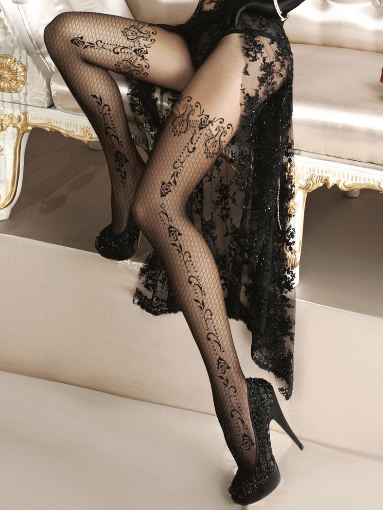 Collants noirs Alluria dentelle motif floral résille sexy burlesque ... 302696e4c32