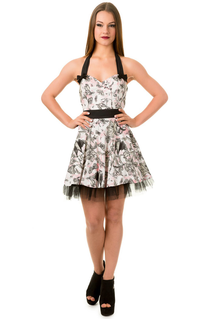 White short butterfly pattern Untamed pinup dress with black ...