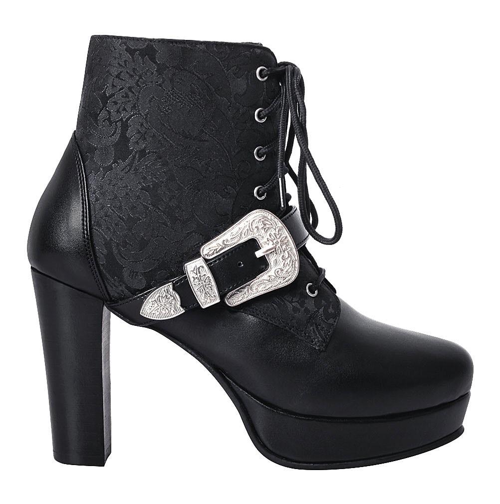 Chaussures bottines Amice noires à motif floral gothique   JAPAN ... 286e551eb849