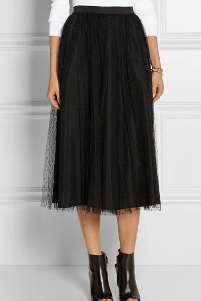 61cbb92576c5f8 Jupe noire mi-longue en tulle gothique rock casual 74cm Référence :  VETJUP223