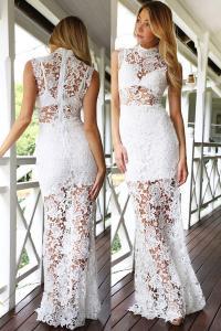 b78849a2feeb Longue robe blanche sans manches en dentelle transparente élégante sexy