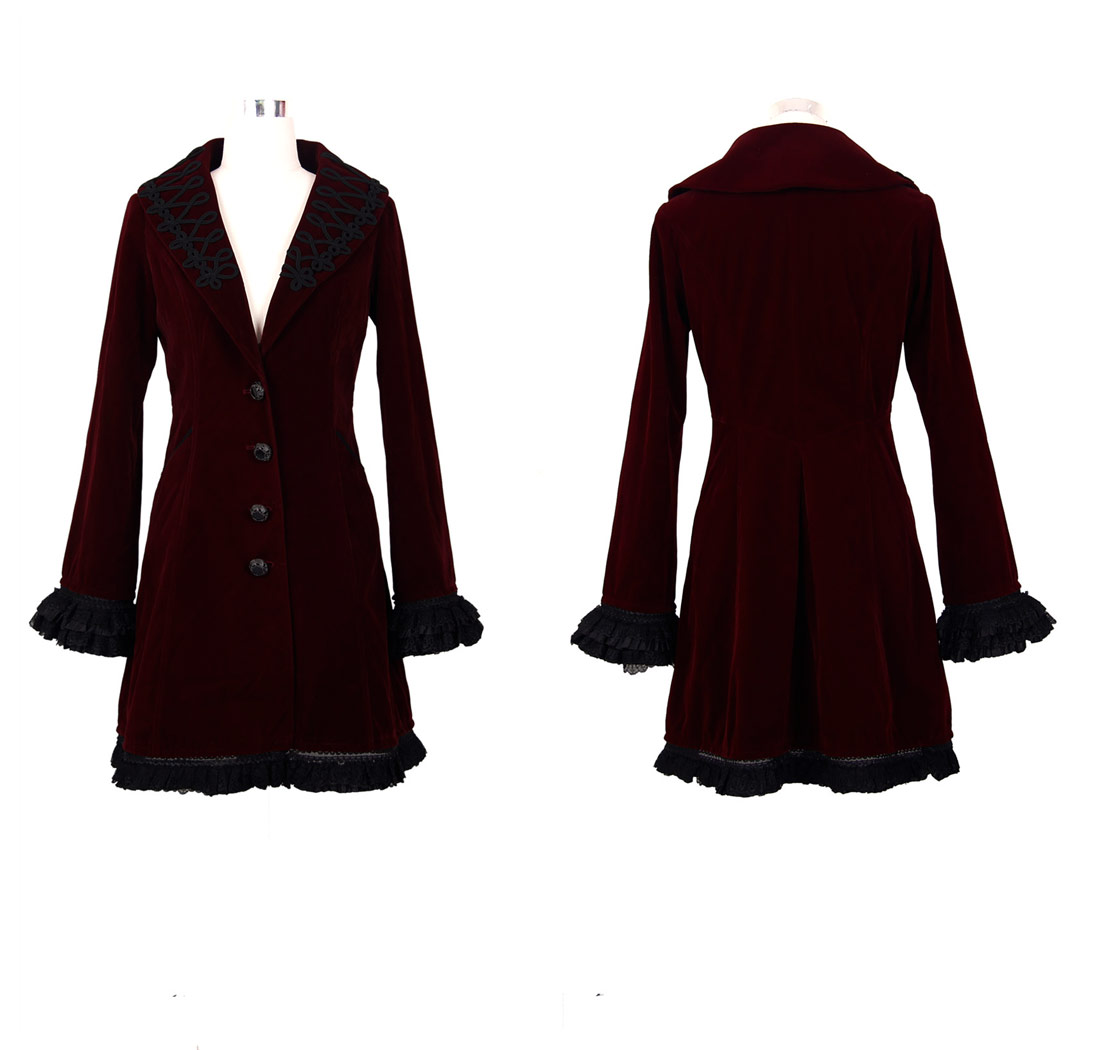 manteau brod rouge fonc femme velours gothique vampire aristocrate japan attitude devfa0013. Black Bedroom Furniture Sets. Home Design Ideas