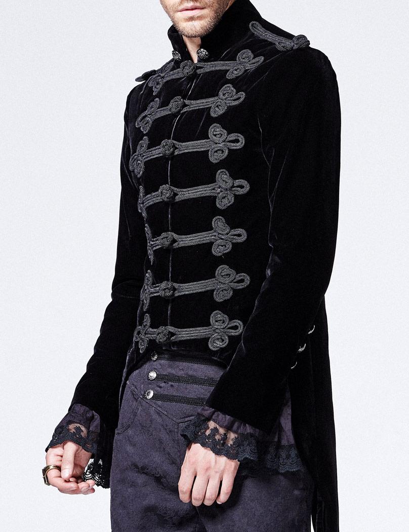 veste homme type militaire en velours noir avec boutons. Black Bedroom Furniture Sets. Home Design Ideas