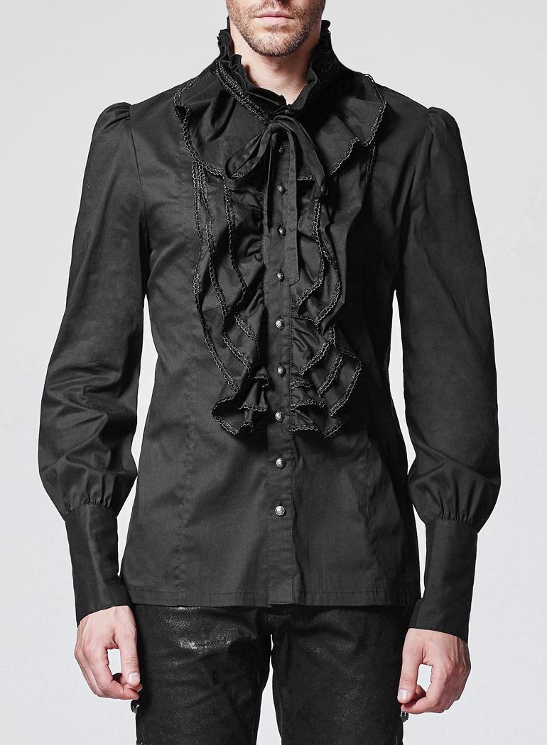 5991b72cbd8d04 Chemise noire à jabot homme avec boutons argentés gothique victorien Punk  Rave Size Chart. Photos de clients :
