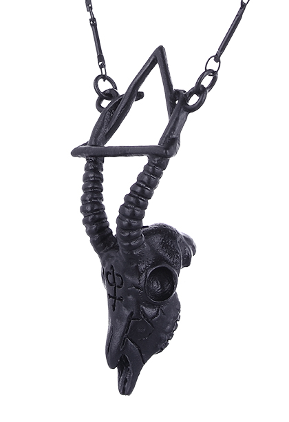Collier crâne de gazelle occulte couleur noir avec longue chaîne