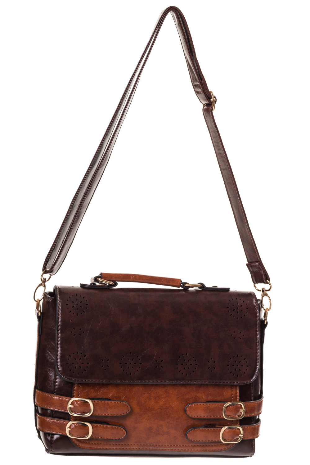 455c4ead76ea Steampunk Banned dark and light brown faux leather handbag satchel Banned