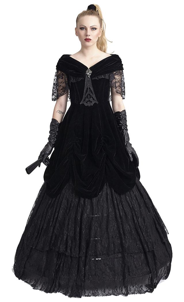 robe longue de bal princesse noire en velours et dentelle victorien gothique japan attitude. Black Bedroom Furniture Sets. Home Design Ideas