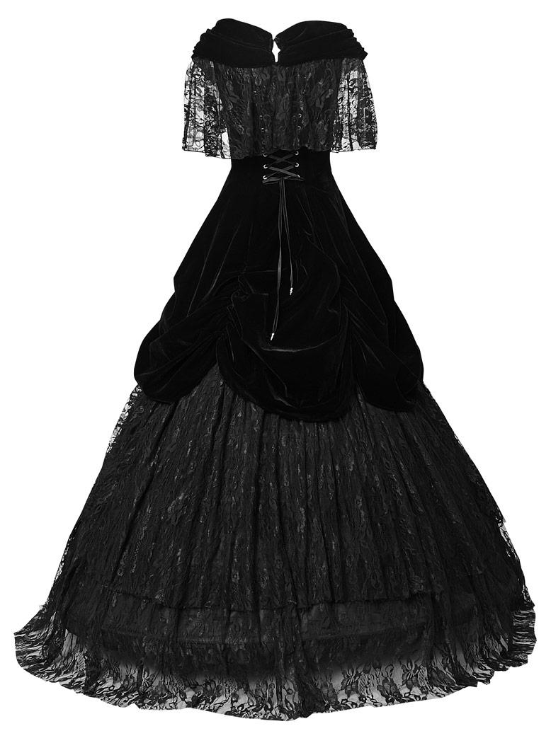 robe longue de bal princesse noire en velours et dentelle victorien punk rave ebay. Black Bedroom Furniture Sets. Home Design Ideas