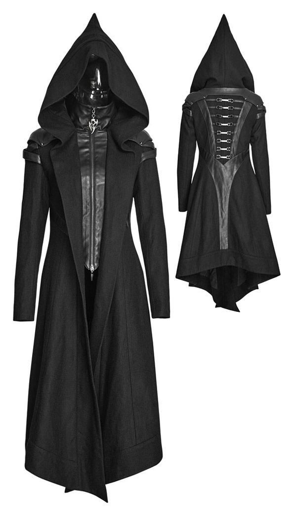 économiser 6227f 11f2a Manteau noir élégant en laine avec capuche pointue faux 2 pcs Punk Rave  Référence : PUNKR0054