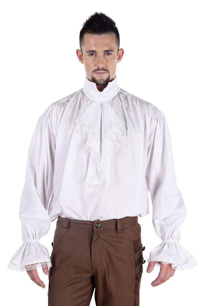 chemise blanche jabot et bordure en dentelle l gant aristocrate pirate japan attitude. Black Bedroom Furniture Sets. Home Design Ideas