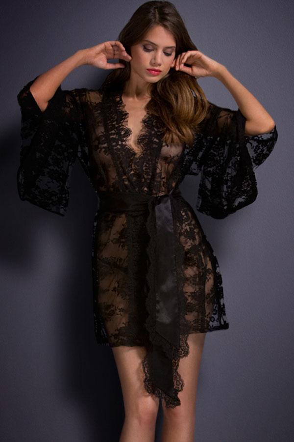 détaillant en ligne 426db f7558 Nuisette en dentelle transparente kimono avec ceinture Référence : LINNUI014
