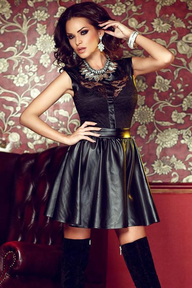 robe noire haut sans manche en dentelle et jupe imitation cuir japan attitude vetrob220. Black Bedroom Furniture Sets. Home Design Ideas