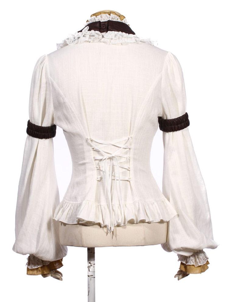 chemise blanche avec froufrous  col  jabot  manches